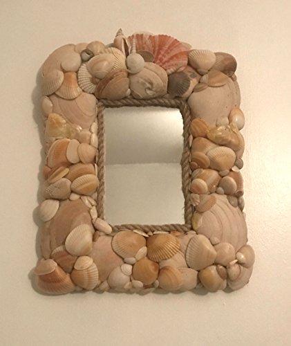 Cape Cod Seashell 13-inch Home Wall Mirror, Nautical Accent, Beach House Decor, Coastal, Clam Shell, Orange, Gift
