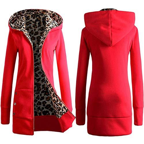 Invernali Manica Giubbotto Donna Vintage Slim Con Leopard Cappuccio Eleganti Caldo Giacca Outerwear Fit Autunno Estilo Giaccone Especial Mantello Lunga Addensare Rot FqC8Hn