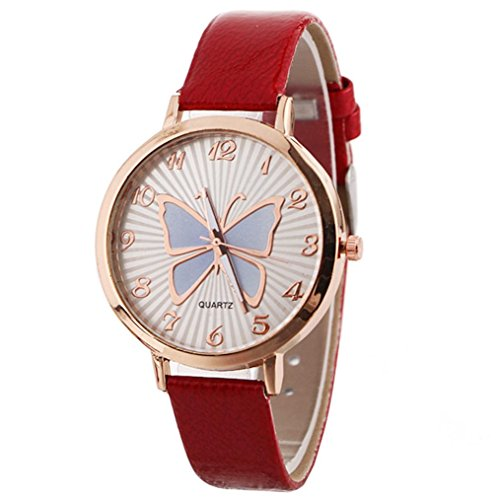 Women's Butterfly Watches Creative Pattern Quartz Watch Leather Strap Belt Table Watch (Red) (Butterfly Watches)