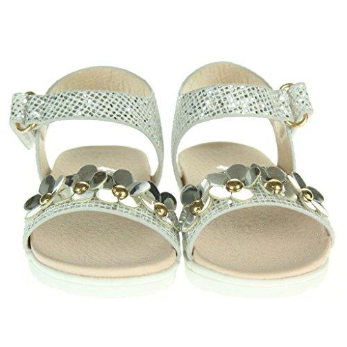 Mädchen Kinder Metallisch Floral Flache Gepolsterte Sohle Abend Hochzeit Party Prinzessin Geburtstag Jeden Tag Sandalen Schuhe Größe Silber