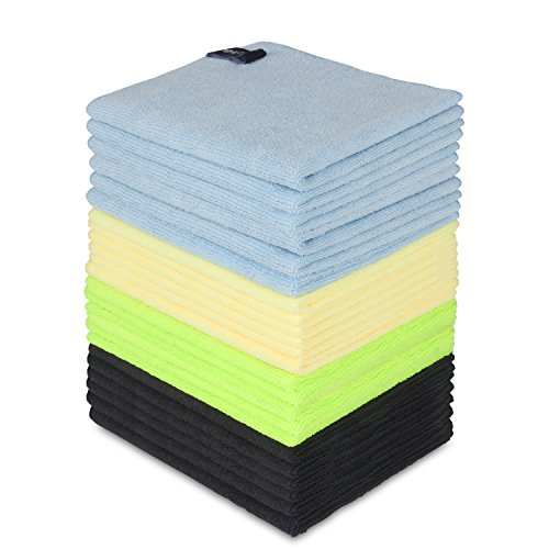 - Fiber Promot High Absorbent Microfiber Cleaning Cloth Towel 24Pack(Blue, Green, Yellow) for Car Window,Led Screen Cleaning the Dust,Dirt (12'' x 16'')