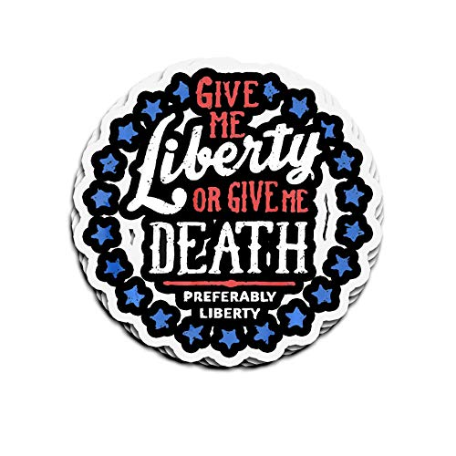 Hanabi 3 PCs Stickers Give Me Liberty Or Death Preferably 4 × 3 Inch Die-Cut Decals for Laptop Window