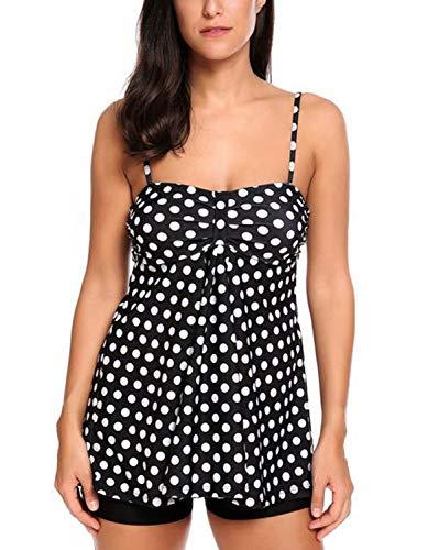 LAPAYA Women's Tankini Swimsuit Set 2 Pieces Striped Tank Top Boyshorts Bottom Bathing Suit, Black, XXX-Large ()