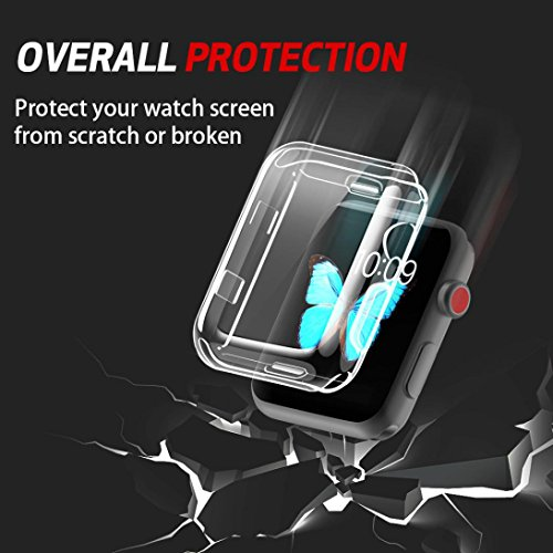 for iWatch Clear Protector Case HP95(TM) Soft Ultra-Slim Clear Full Cover TPU Case Frame For Apple Watch Series 2/3 42mm & 38mm-360 Degree Full Protection (For iWatch Series 2/3 42mm) by HP95 (Image #1)