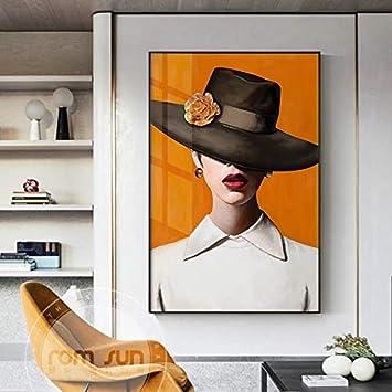 KWzEQ Resumen Misterioso Sexy Labios Rojos Dama Lienzo Pintura Cartel impresión Sala de Estar Dormitorio Arte,80X120cm,Pintura sin Marco