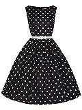 iRachel Womens Retro Vintage Sleeveless Polka Dot Swing Bridesmaid Party Dress