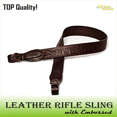VVV-Group TOTAL SALE! Real Leather Gun Sling Strap with Embossed Design for Shooting Sport, Hunting – Adjustable 2 Point Shotgun Cord - Guaranteed Excellent Quality