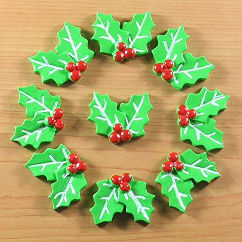 Resin Holly - Lot 10pcs X'mas Holly Leaves for Christmas Cabochons Resin Flatbacks Scrapbooking Girl Hair Bow Center Crafts Making Embellishments