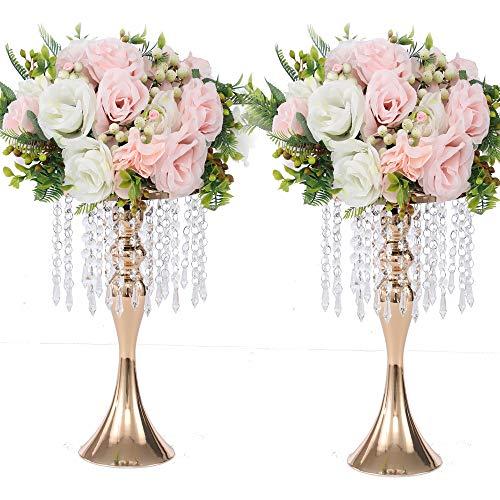 """LANLONG 2PCS Acrylic Imitation Crystal Candle Holder Stand Gold/Silver Flower Vase Wedding Centerpiece Lead Road Candlestick for Wedding Event Decoration (Gold, 13"""")"""