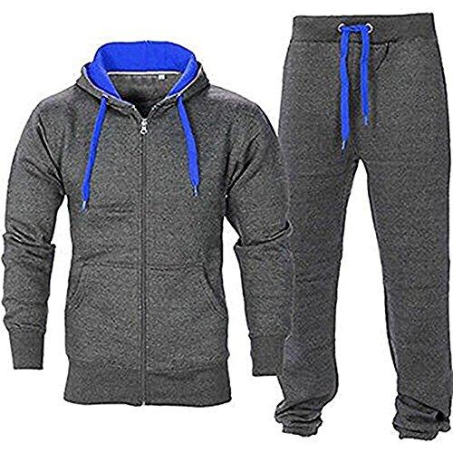 Juicy Trendz Mens Athletic Long Selves Fleece Full Zip Gym Tracksuit Jogging Set Active wear Charcoal/Blue ()