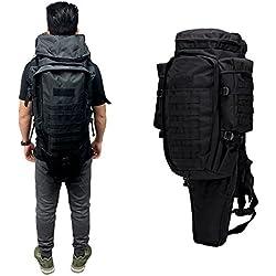 GEARDO Military Tactical Backpack Rifle Gun Storage Holder Military Survival Trekking Hiking Fishing Rod Bag W/Belt Black