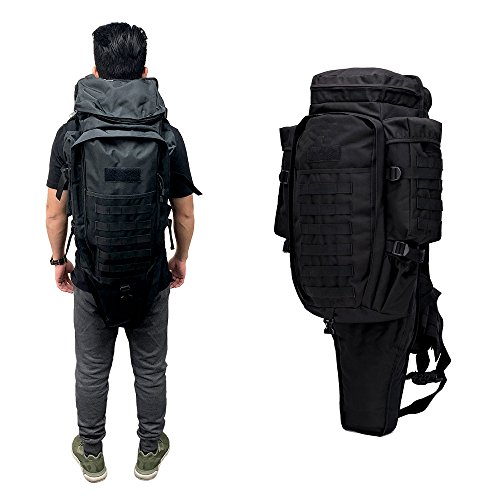 Military Tactical Backpack Rifle Gun Storage Holder Military Survival Trekking Hiking Fishing Rod Bag with Belt Black (Best Affordable Airsoft Sniper Rifle)