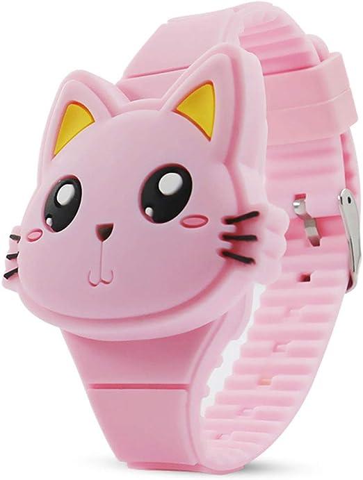 Amazon Com Kids Watch Girls Watch Digital Cute Cat Shape Pink Led Fashion Silicone Band Clamshell Design Wrist Watch Girl Gifts Watches