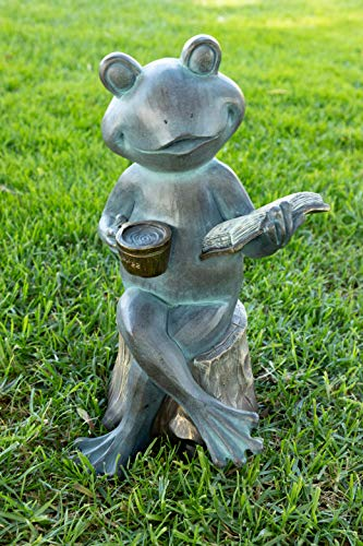 Alpine USA1410 Frog Reading Book Statue, Gray ()