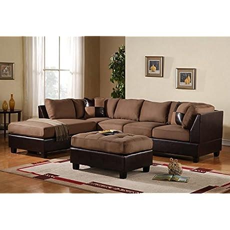3 Piece Modern Reversible Microfiber Faux Leather Sectional Sofa Set W Ottoman Saddle