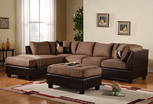 3-Piece Modern Reversible Microfiber / Faux Leather Sectional Sofa Set w/ Ottoman