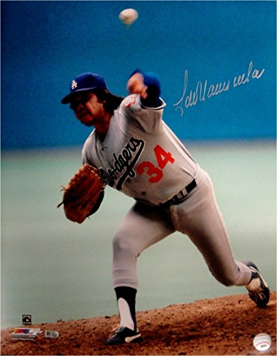 Fernando Valenzuela Hand Signed Autographed 16x20 Photo Pitching LA Dodgers MLB Hand Signed Pitching 16x20 Photograph