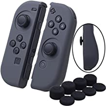 YoRHa Hand grip Silicone Cover Skin Case x 2 for Nintendo Switch/NS/NX Joy-Con controller (grey) With Joy-Con thumb grips x 8