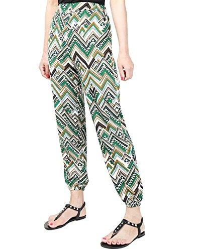 High Stile Tasche Donna Grazioso 16 Pattern Pantaloni Modern Chic Colour Trousers Vita Stampate Con Elastica Estivi Libero Di Cute Lunga Sottile Waist Tempo Baggy Stoffa Harem wvAwg