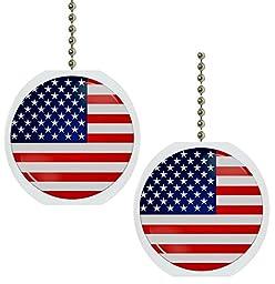 Set of 2 American Flag Solid Ceramic Fan Pulls