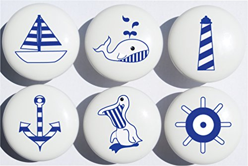 Navy Blue Nautical Drawer Pulls / Ceramic Cabinet Knobs / Nursery Decor / Set of 6 (All Navy Blue) (Tower Drawer Dresser Six)