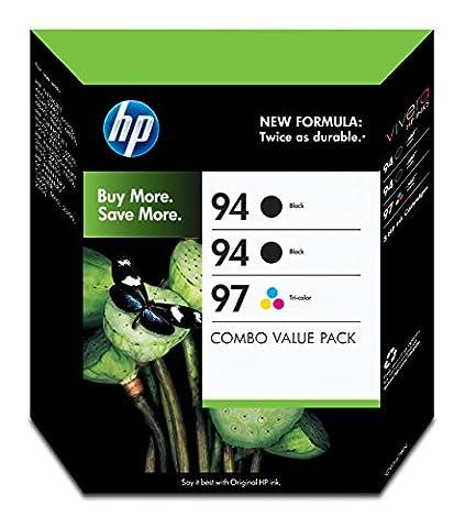 HP 94 Black & 97 Tri-color Original Ink Cartridges, 3 pack (C9347BN) (Ink Cartridges Hp 560)