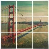 Modern 9-Piece Mural of Golden Gate Bridge, on Wood, 36'' x 36''