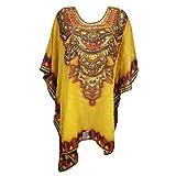 Mogul Women's Short Caftan Jewel Print Saffron Yellow Poncho Coverup Boho Kaftan Top
