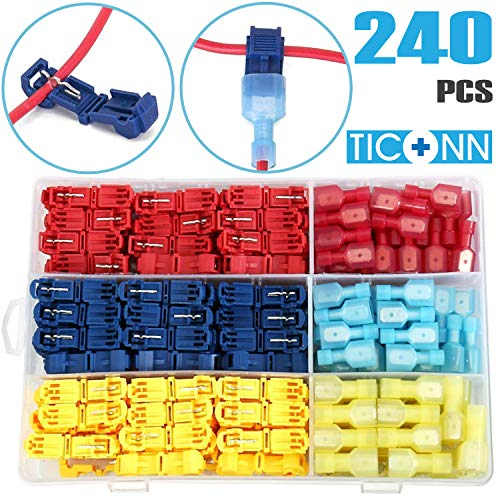 TICONN 240pcs T-Tap Wire Connectors, Self-Stripping Quick Splice Electrical Wire Terminals, Insulated Male Quick Disconnect Spade Terminals Assortment Kit with Storage Case ()