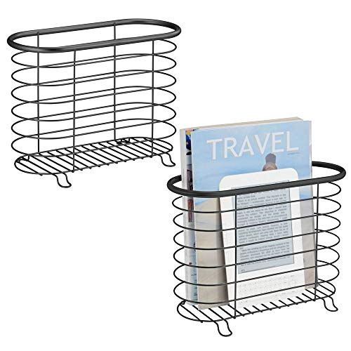 mDesign Decorative Metal Farmhouse Magazine Holder and Organizer Bin - Standing Rack for Magazines, Books, Newspapers, Tablets in Bathroom, Family Room, Office, Den - 2 Pack - Matte -