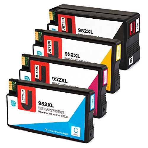 JetSir Remanufactured for 952xl 952 Ink Cartridge High Yield (Black/Cyan/Magenta/Yellow), Compatible with OfficeJet Pro 8720 8710 7740 8740 8210 8216 8730 8715 8725 8702 Printer