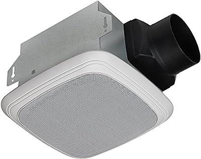 Homewerks Worldwide Decorative White 70 CFM Bluetooth Stereo Speaker Exhaust Bath Fan