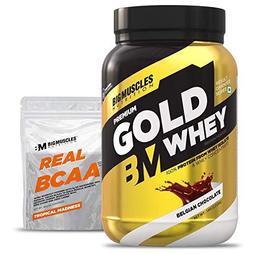 Bigmuscles Nutrition Premium Gold Whey 1Kg [Belgian Chocolate]  Whey Protein Isolate & Whey Protein Concentrate, 25g Protein Per Serving, 0g Sugar, 5.5g BCAA