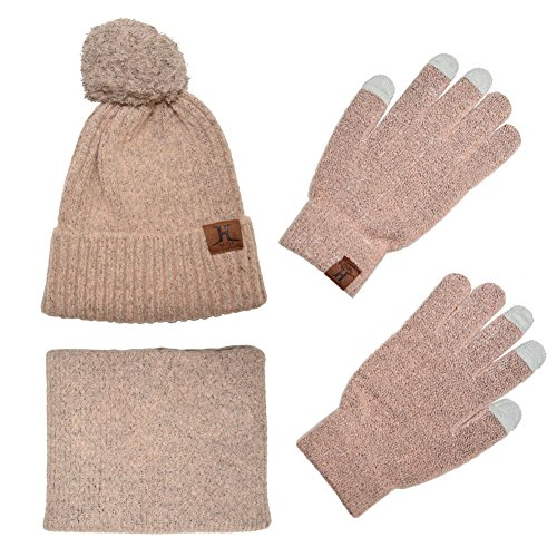 Knit Scarf/Hat/Gloves Set, Soft Warm Beanie, Touch Screen for Families Friends, Women Men Unisex Cable Knit Winter Cold Weather Gift Set (Pink)
