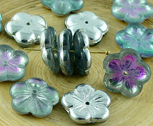 6pcs Crystal Silver Light Vitrail Purple Turquoise Half Large Flat Flower Cup Czech Glass Beads 14mm