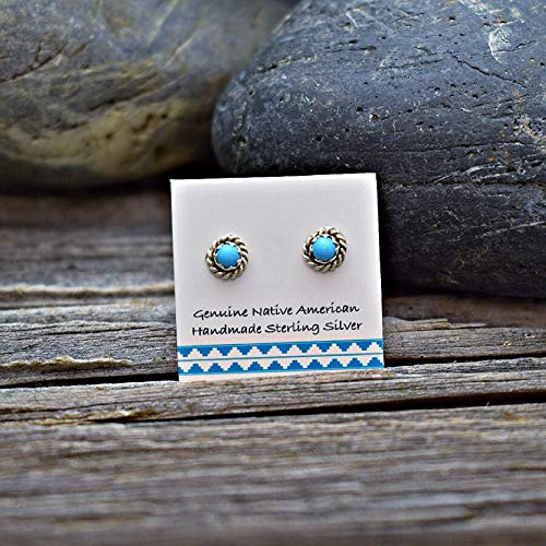 5mm Genuine Sleeping Beauty Turquoise Stud Earrings in 925 Sterling Silver, Authentic Native American, Handmade in the USA, Nickle Free (Turquoise Earrings Native)