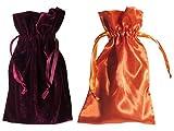 Tarot Bags: Wine Velvet and Orange Satin Duo Bundle (6