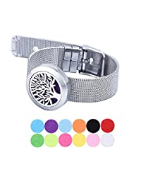 PU Leather Aromatherapy Essential Oil Diffuser Bracelet Stainless Steel Tree of Life Locket With 11 Pads
