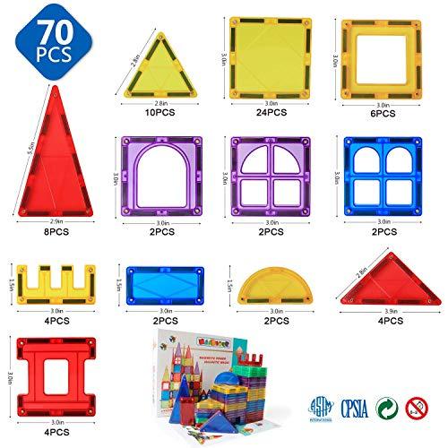 MAGBLOCK Magnetic Blocks - Toys for Toddlers Kids 70pcs, Multicolor