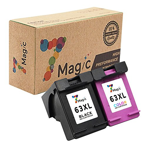 7Magic Remanufactured Ink Cartridge Replacement for HP 63XL 63 XL Use in Envy 4512 4516 4520 Officejet 3830 3831 4650 4655 Deskjet 2130 2132 3630 3632 3634 3636 Printer (1 Black & 1 Tri-Color)