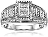 10k White Gold Round and Princess Cut Diamond Anniversary Ring (1/2 cttw, H-I Color, I1-I2 Clarity), Size 7