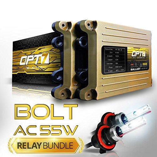 Bi Xenon Kit (OPT7 Bolt AC 55w Hi-Power HID Kit - 9007 Bi-Xenon 5000K Bright White Light - All Bulb Sizes and Colors - Relay Capacitor Bundle - 2 Yr Warranty)