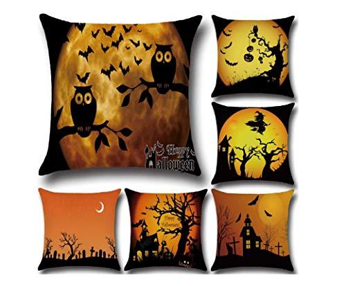 XGuangage Owl Moon Pillowcase Home Decoration Bat Cushion Covers Cotton Pillow Case 6pcs/Set (Set 2)
