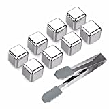 Whiskey Stones Set of 8 Reusable Ice Cubes Stainless Steel Drink Coolers with Tongs for Wine Soda Kangsanli