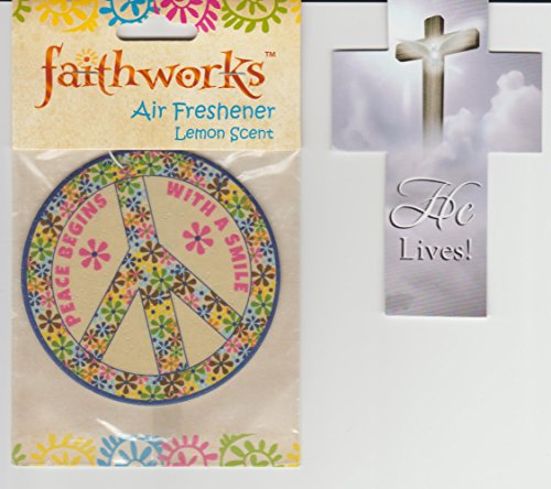 Peace Sign Air Freshener Lemon Scent with Cross Bookmark