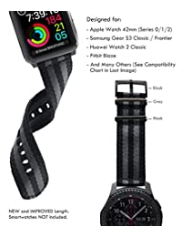 [Upgraded] Truffol 22mm NATO Woven Nylon Band for Apple Watch 42mm, Samsung Gear S3 Frontier & Classic, Huawei Watch 2 Classic - Replacement Watch Strap with Steel Metal Buckle (Black / Space Grey)