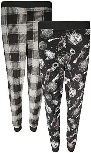 Boys Pajama Fleece Pants (Quad Seven Boys Lounge Pajama Pant Sets, Space/Plaid, Size 12/14)