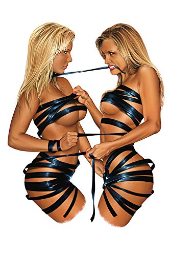"""DOUBLE TROUBLE"", sexy bondage pinup, 11"" x 17"" autographed art print from artist Dave Nestler."