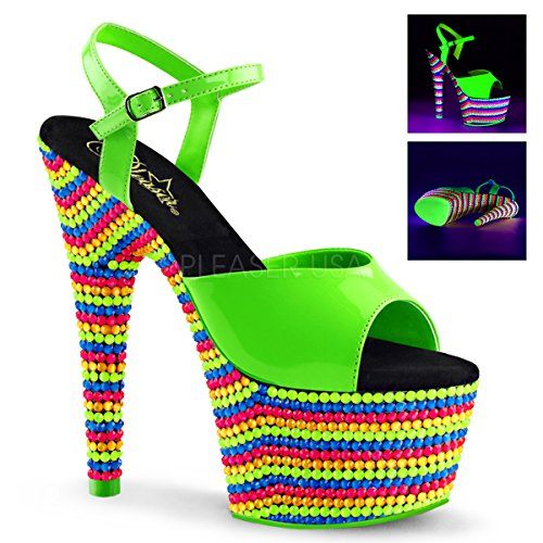 Green Adore Multi Ankle 709RBS Strap Pat Sandals Neon Leather Pleaser Women's Neon Patent w1qx75ZZz