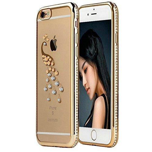 "6S Case,iPhone 6 Case,EMAXELER Bling Swarovski Crystal Rhinestone Diamond Frame Cover for iPhone 6S,Plating Frame Flexible TPU Case for iPhone 6/6S(4.7"")Peacock[Gold & Diamond]"